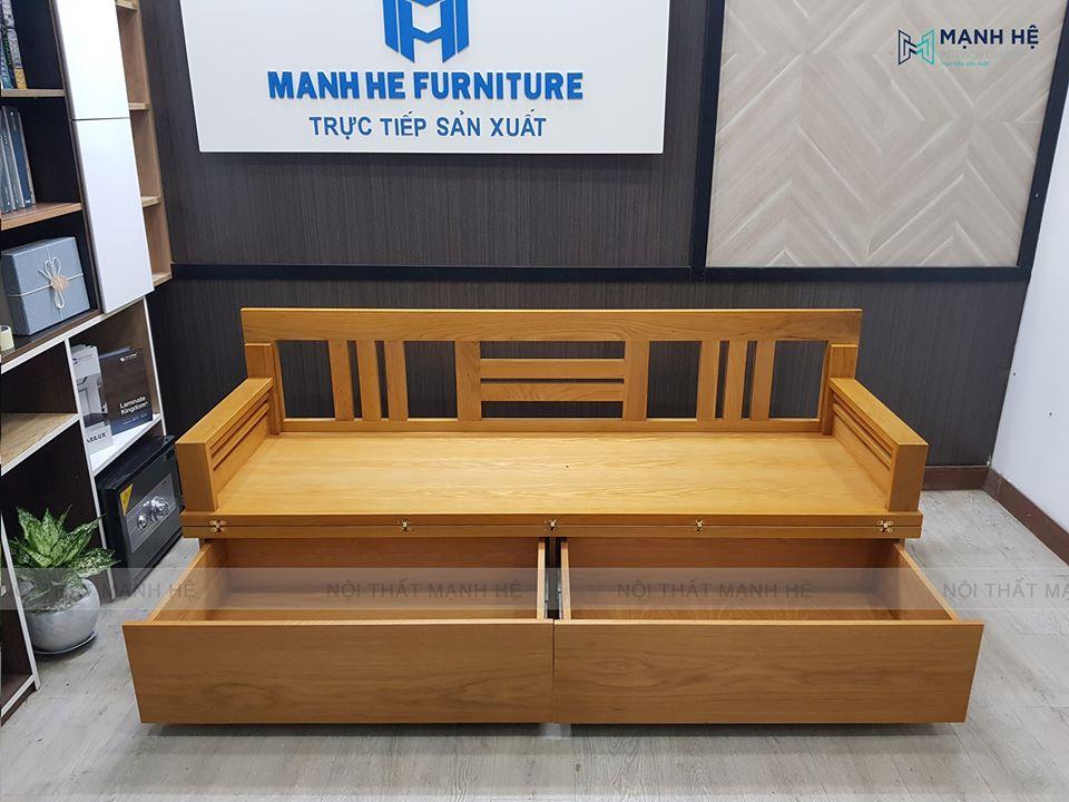 Ghế sofa giường gỗ có 2 ngăn kéo rộng rãi để đựng đồ