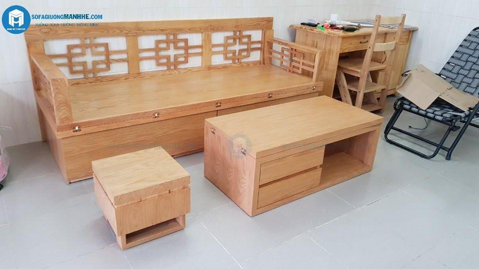 Ghế sofa kết hợp bàn trà thành giường ngủ