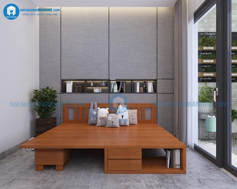 mẫu ghế kết hợp bàn trà thành giường