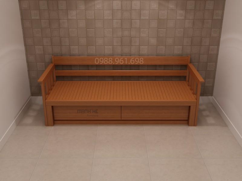 Ghế sofa giường màu gỗ đặc trưng nên rất dễ phối hợp với nhiều không gian nhà,