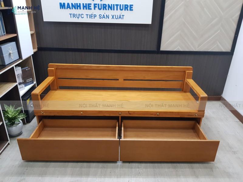 Mẫu ghế sofa giường TG05 có 2 hộc kéo lưu trữ đồ đạc