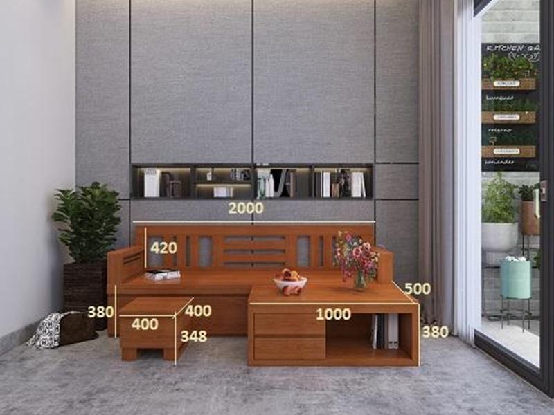 kích thước bộ bàn ghế sofa kết hợp bàn trà làm giường