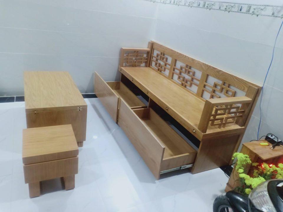 Bộ ghế sofa bàn trà gỗ tự nhiên tại nhà anh Hoàng - Đồng Nai