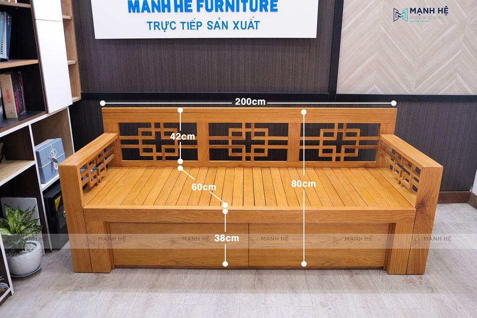 Kích thước ghế gỗ dài kéo thành giường SE02