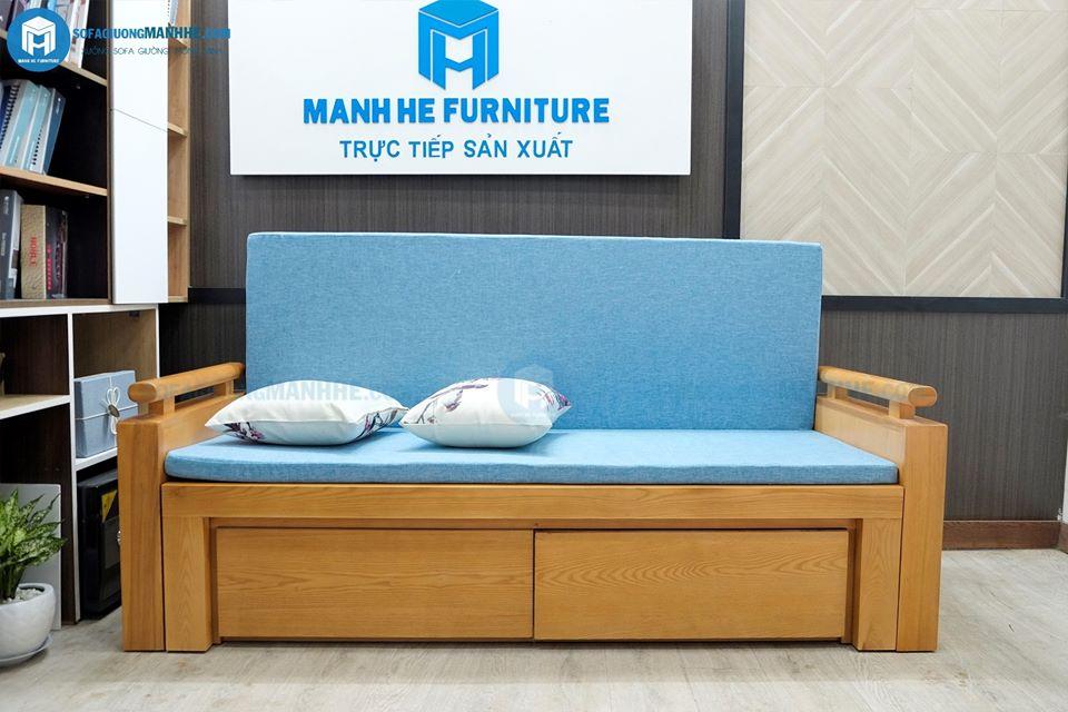 Mẫu ghế sofa giường gỗ của Mạnh Hệ thường được kết hợp với gối tựa để tạo sự êm ái, thoải mái khi sử dụng