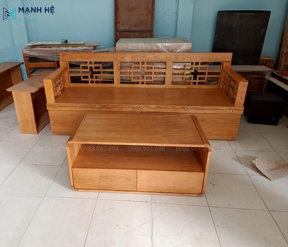 Màu sắc và vân gỗ của ghế sofa bàn trà có thể được thiết kế và thi công theo ý thích của bạn