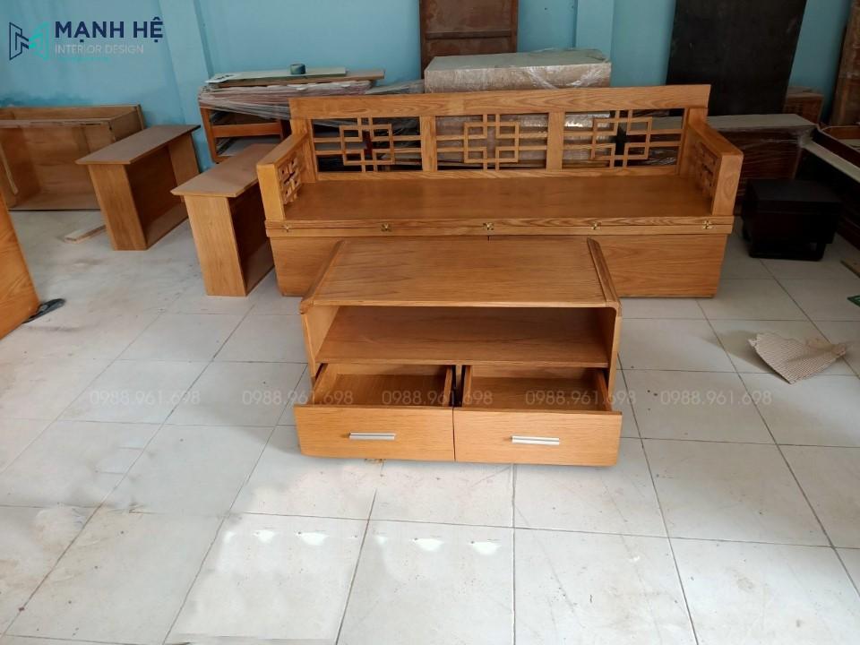 Bộ ghế sofa bàn trà với thiết kế đa năng có hộc kéo ngay ghế và bàn trà