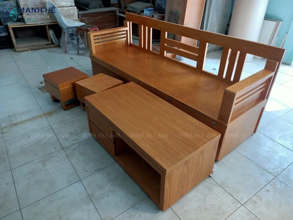 Bộ ghế sofa giường bàn trà làm tăng thêm nét đẹp hiện đại cho không gian